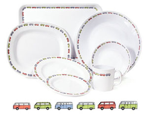 VW Bus themed melamine dishes